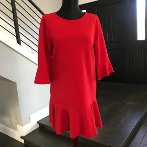 Red ribbed mini dress flare sleeves